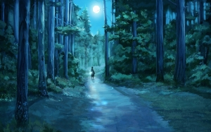 trees_dark_night_artistic_forest_moon_path_anime_flashlight_1920x1200_wallpaper_Wallpaper HD_1920x1200_www.paperhi.com